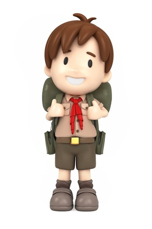 boys happy: 3D render of happy boy scout