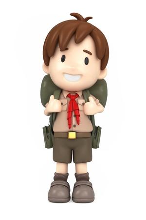 3D rendering di felice boy scout