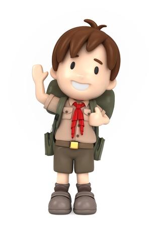 3D render of happy boy scout photo