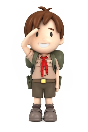scout: 3D render of happy boy scout