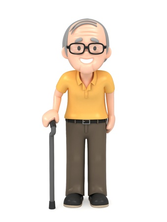 3D render of a happy old man