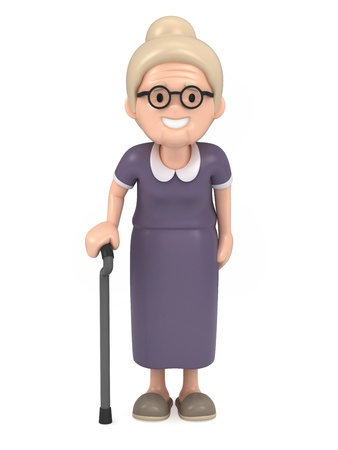 3D render of a happy old woman Stock Photo