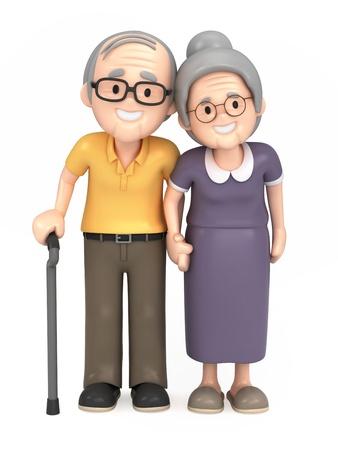 3D render van een gelukkige oude paar