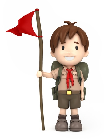 3D render of happy boy scout