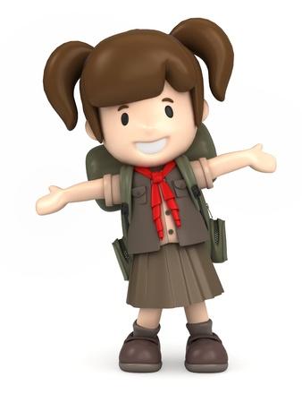 Rendu 3D d'une fille scout heureux Banque d'images - 21397454