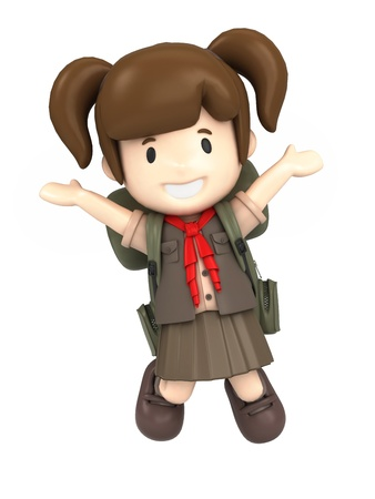 scout: 3D render of a happy girl scout