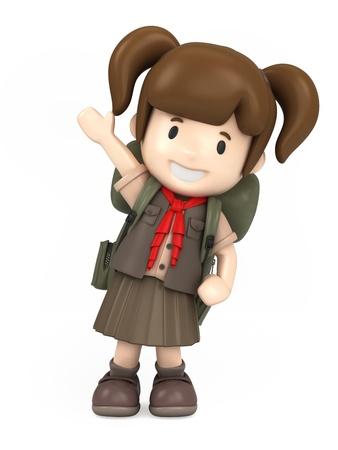 chicos: Render 3D de un explorador de niña feliz Foto de archivo