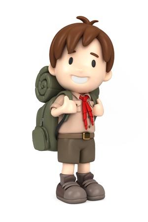 3D-Darstellung von einem glücklichen Mädchen scout Standard-Bild - 21397457