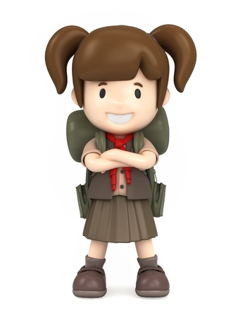 3D render of a happy girl scout