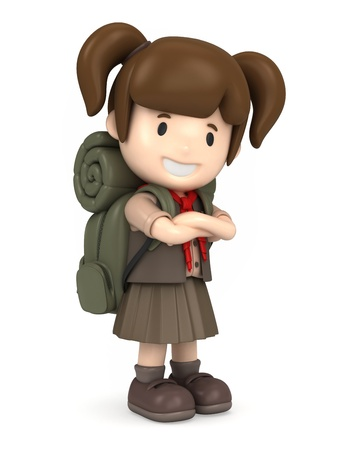 explorer: 3D render of a happy girl scout