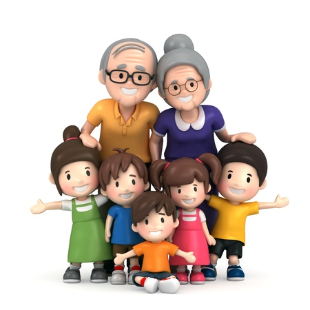 bonding: 3D render of grandparents with grandchildred