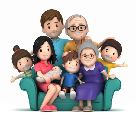 family picture: 3D render of grandparents with grandchildred