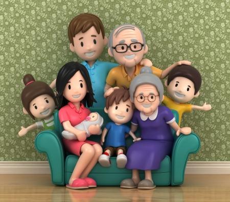 abuela: Render 3D de los abuelos con grandchildred