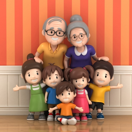 3D render of grandparents with grandchildred Фото со стока - 21397466