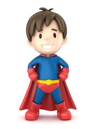 incredible: 3d render of a superhero boy Stock Photo