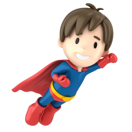 3d render of a superhero boy flying photo