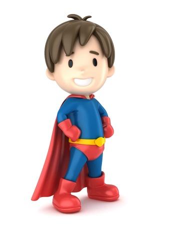 fearless: 3d render of a superhero boy Stock Photo