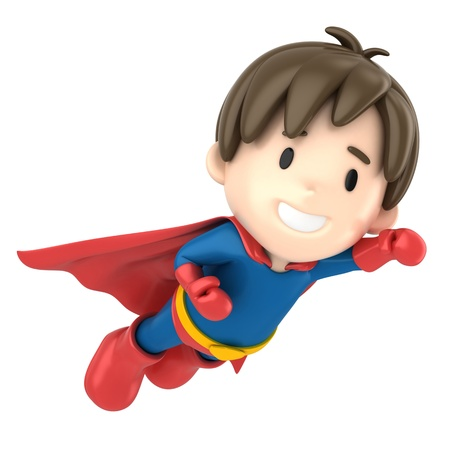 3d render of a superhero boy flying