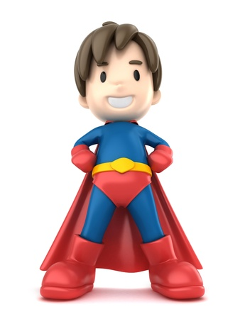heroic: 3d render of a superhero boy Stock Photo