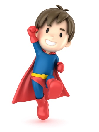 strong boy: 3d render of a superhero boy Stock Photo