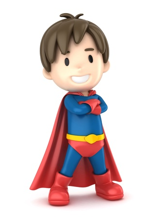3d render of a superhero boy photo