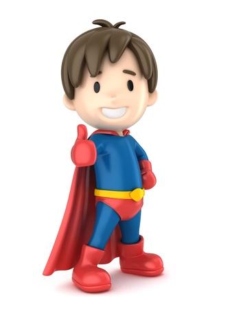 スーパー ヒーロー少年を ok サインを与えることの 3 d レンダリング 写真素材