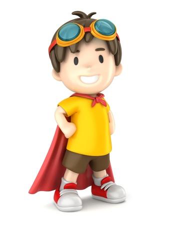 スーパー ヒーロー少年の 3 d レンダリング