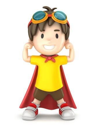 fearless: 3d render of a strong superhero boy Stock Photo