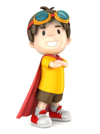 3d render of a superhero boy standing proud photo