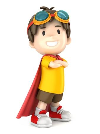 courage: 3d render of a superhero boy standing proud