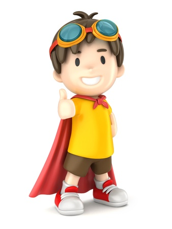 fearless: 3d render of a superhero boy giving ok sign Stock Photo
