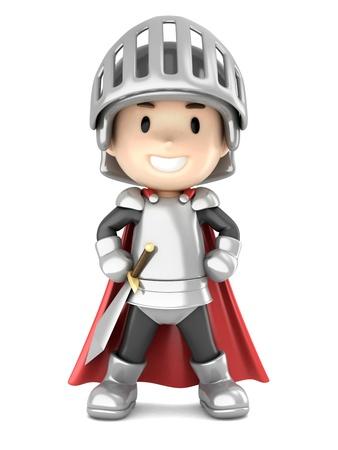 3d render of a cute knight boy standing proud