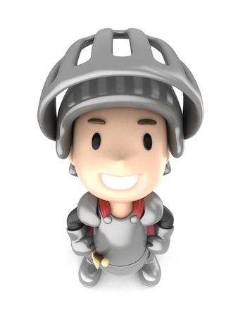 3d render of a cute knight boy