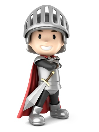 3d render of a cute knight boy standing proud photo