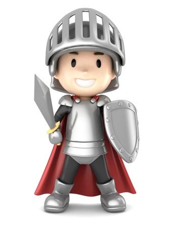 cavaliere medievale: 3D rendering di un simpatico ragazzo cavaliere