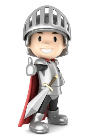 3d render of a cute knight boy giving ok sign