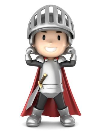 3d render of a cute knight boy photo