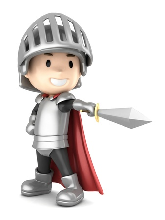 3d render of a cute knight boy pointing his sword photo