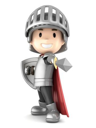3d render of a cute Junge zeigt Ritter sein Schwert Standard-Bild - 21397513