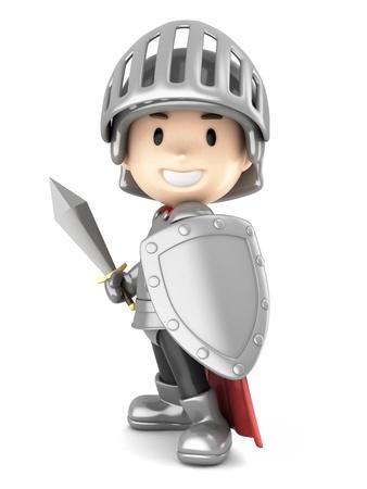 3D render van een leuke ridder jongen
