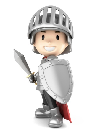 Rendu 3D d'un chevalier garçon mignon Banque d'images - 21397514