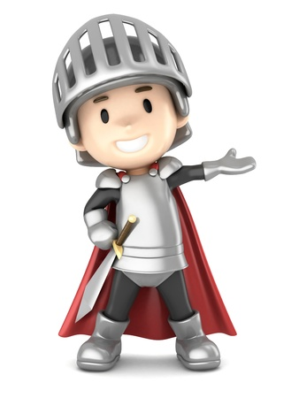 knightly: 3d render of a cute knight boy presenting Stock Photo