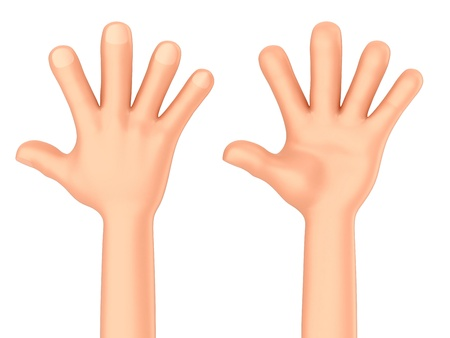 high five: 3d render of a hand showing five fingers