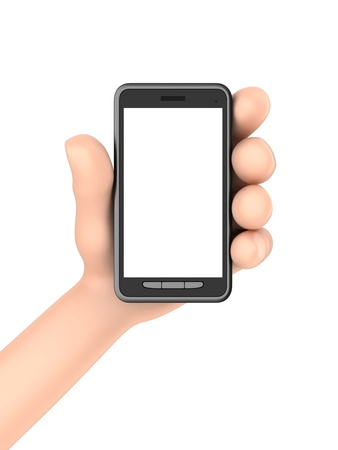 3d render of hand displaying a phone