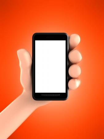 3D render van de hand weergeven van een telefoon