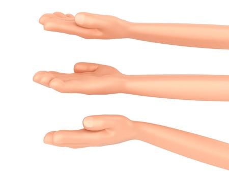 3D render van een hand te geven erts presenteren iets