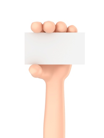 hand holding business card: 3d render of a hand holding business card