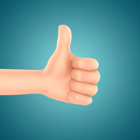 3d render of a hand with thumbs up Stock Photo - 21397570