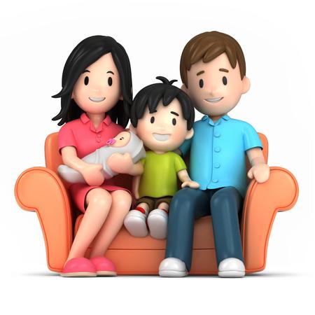 幸せな家族の 3 d レンダリング 写真素材