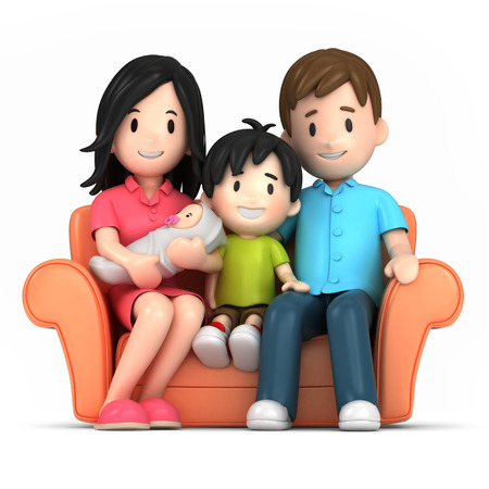 행복한 가족의 3d 렌더링